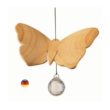 Mobile papillon, cristal et bois noble