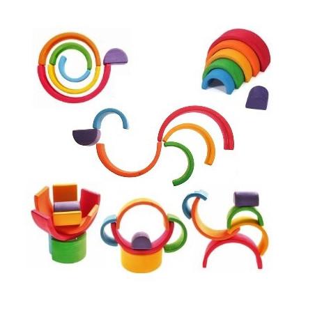 Arc en ciel moyen 6 pieces jouet en bois Grimms