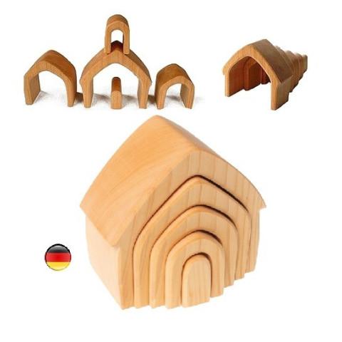 Maison gigogne à empiler, jouet en bois naturel waldorf Grimm's