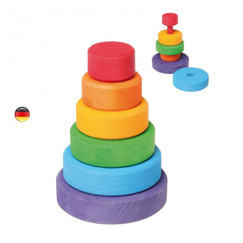 petite tour d'anneaux multicolores  à empiler, en bois , Grimm's