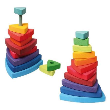 Tour triangle à empiler, jouet d'eveil en bois waldorf steiner montessori  Grimm's