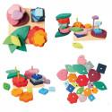 jeu à empiler 4 tours de formes différentes et variées , en bois multicolore, jouet d'eveil  Grimm's