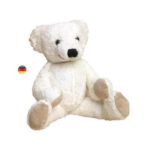 Peluche ours musical blanc, doudou boite à musique en coton bio Kallisto
