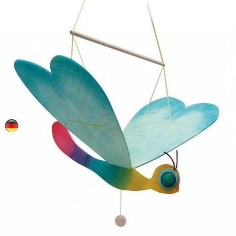 Mobile Libellule à tirer en bois coloré
