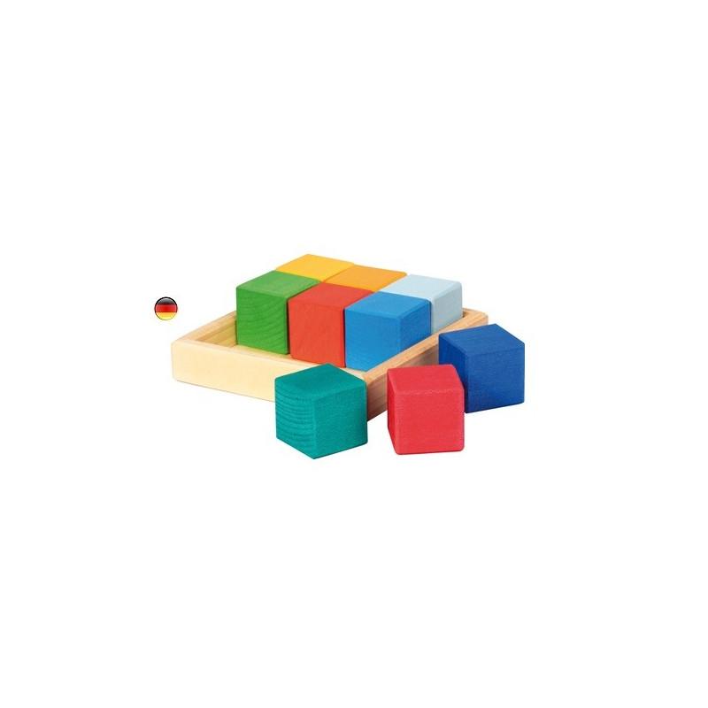 Quadrat cubes, puzzle encastrement, jouet d'éveil en bois Gluckskafer nic