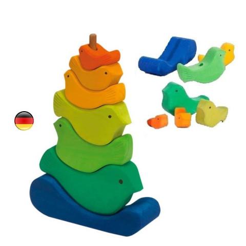 Tour d'oiseaux à empiler, jouet d'éveil en bois gluckskafer