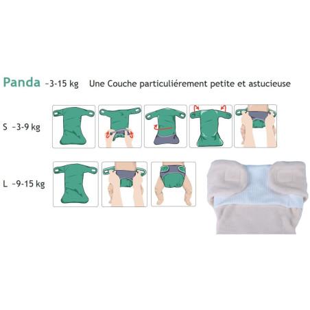 Couche lavable evolutive coton bio, Panda à velcro popolini