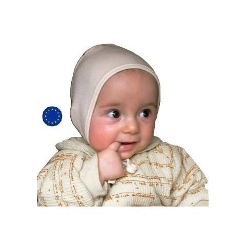 Bonnet bébé en soie et laine bio, à lacet IOBIO de Popolini