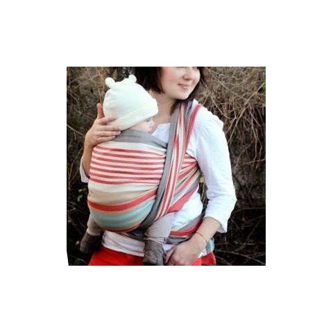 Echarpe de portage hugo rayée, porte bébé physiologique de Néobulle, strasbourg