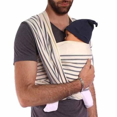 Echarpe de portage rayée Malo, porte bébé physiologique de Néobulle, strasbourg