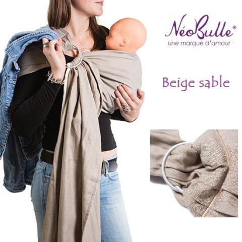 Bulline beige, sling de portage Néobulle, echarpe sans noeud porte bébé physiologique de néobulle france