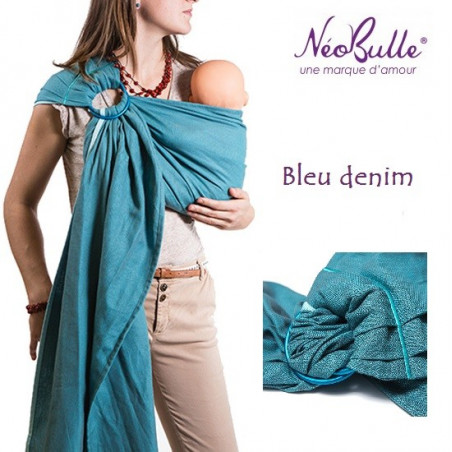 Bulline bleu denim, sling de portage Néobulle, echarpe sans noeud porte bébé physiologique de néobulle france
