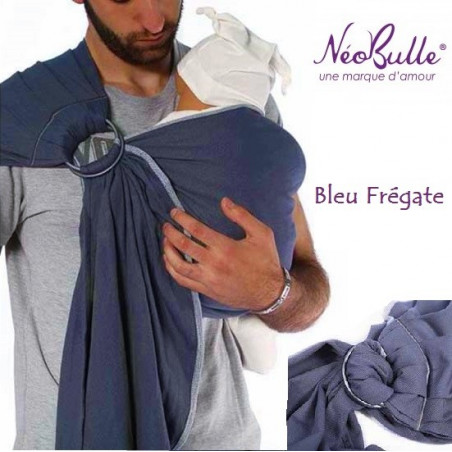 Bulline bleu fregate, sling de portage Néobulle, echarpe sans noeud porte bébé physiologique de néobulle france