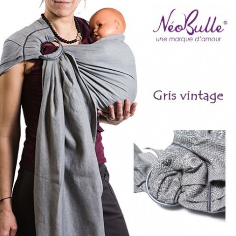 Bulline gris vintage, sling de portage Néobulle, echarpe sans noeud porte bébé physiologique de néobulle france