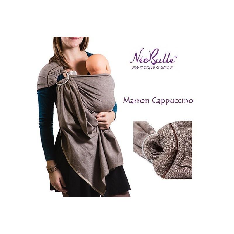 Bulline marron cappuccino, sling de portage Néobulle, echarpe sans noeud porte bébé physiologique de néobulle france