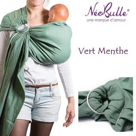 Bulline vert menthe, sling de portage Néobulle, echarpe sans noeud porte bébé physiologique de néobulle france