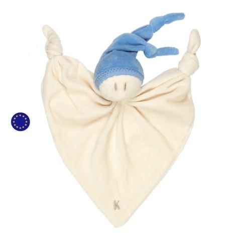 Doudou lutin bleu zmooz 24cm, coton bio Keptin Jr