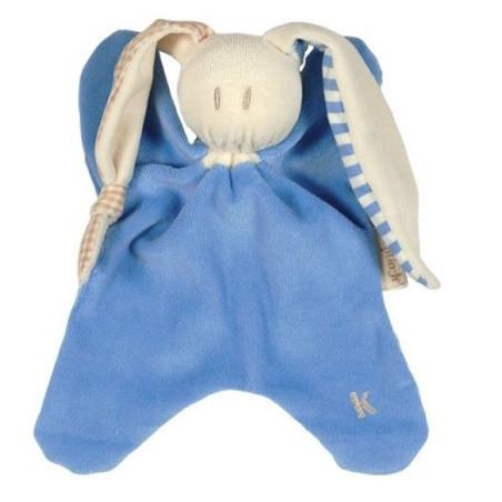 Doudou lapin bleu, toddel en coton bio Keptin Jr