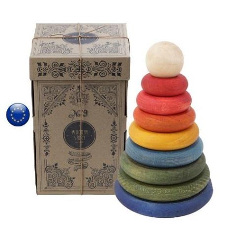 Tour à empiler, jouet d'éveil en bois coloré steiner waldorf et montessori de wooden story europe