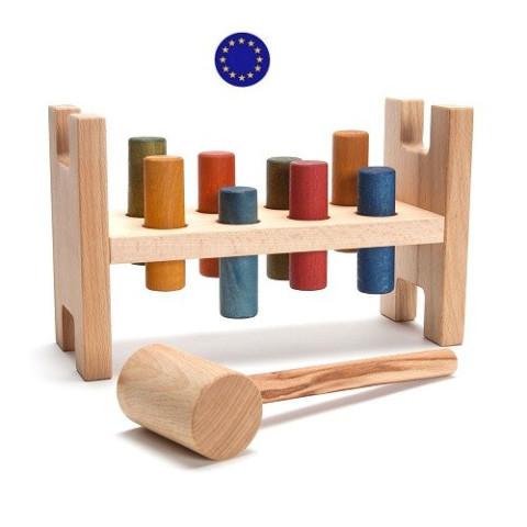 Jeu du marteau, cylindres à taper en bois