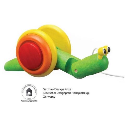 Escargot à tirer, jouet éveil en bois ecologique et éthique Plan toys