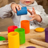 Pots à couvercle coloré, boite en bois jouet Grapat