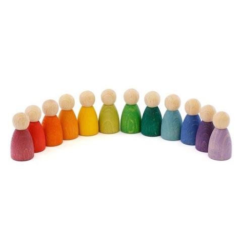 12 Nins, amis figurines arc en ciel, jouet en bois steiner waldorf de Grapat, grimm's