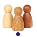 Nins®, 3 amis en bois variés, jouet libre en bois steiner waldorf et montessori de grapat