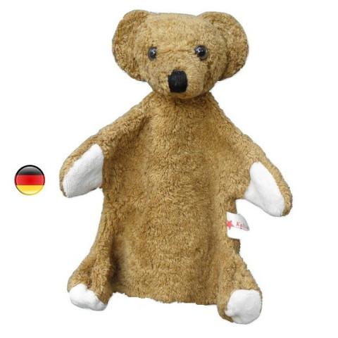 Marionnette ours brun, peluche doudou en coton bio, jouet ecologique et ethique Kallisto