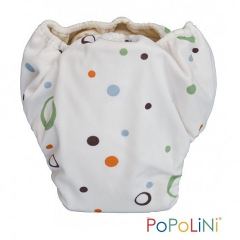 Trainer bulles, culotte d'apprentissage de propreté, couche lavable coton bio blanc, Popolini