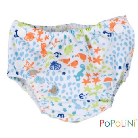 Couche piscine océan, maillot de bain lavable bébé anti fuite popolini