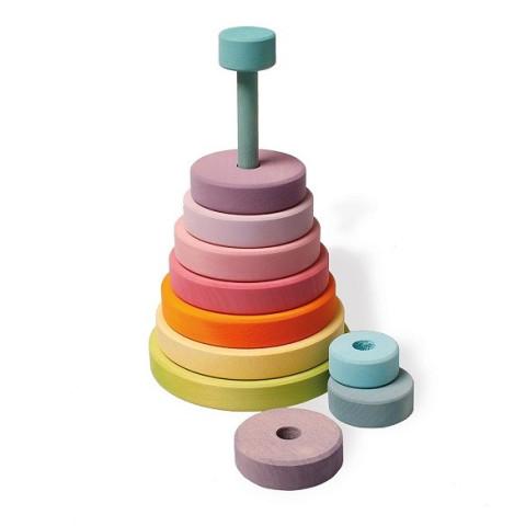 Tour à empiler, anneaux pastel en bois, jouet d'eveil Grimm's