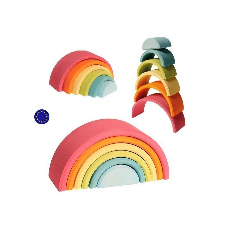jouet arc en ciel bois pastel