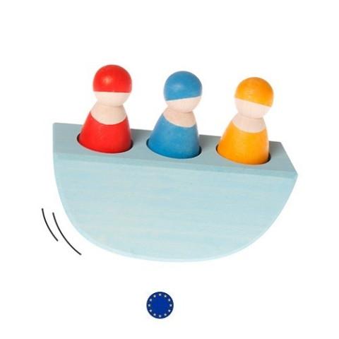 3 bonhommes dans un bateau, jeu en bois Grimm's