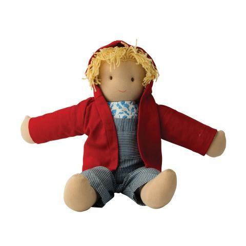 Lou Boris, Poupée waldorf garçon 40 cm, en tissu equitable ethique de hoppa Peppa