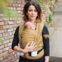 Echarpe de portage unie jaune miel, porte bébé physiologique en tissu de Néobulle france