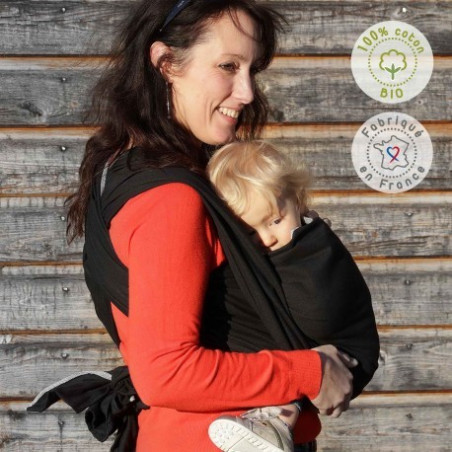Echarpe de portage unie noir, porte bébé physiologique Néobulle france