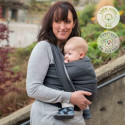 Echarpe de portage unie anthracite gris, porte bébé physiologique Néobulle france