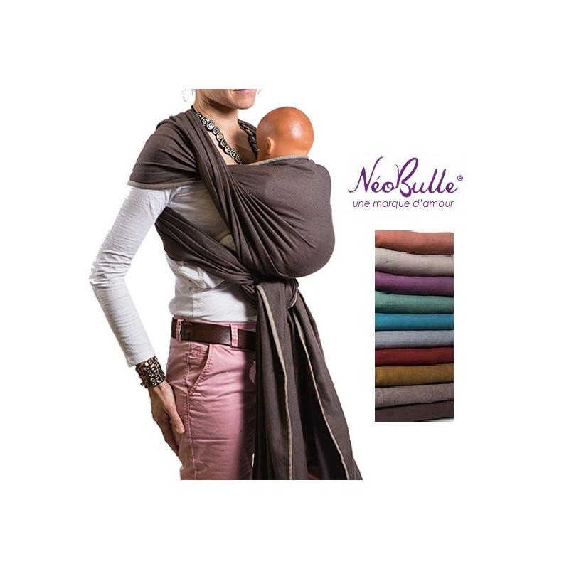 Echarpe de portage unie, porte bébé physiologique en tissu de Néobulle france