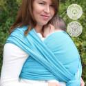 Echarpe de portage unie bleu denim turquoise, porte bébé physiologique Néobulle france
