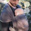 Echarpe de portage unie marron cappuccino, porte bébé physiologique Néobulle france