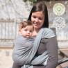 Echarpe de portage unie gris vintage, porte bébé physiologique Néobulle france