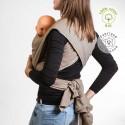 Echarpe de portage unie beige sable, porte bébé physiologique Néobulle france