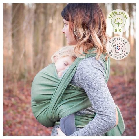Echarpe de portage unie vert menthe, porte bébé physiologique Néobulle france
