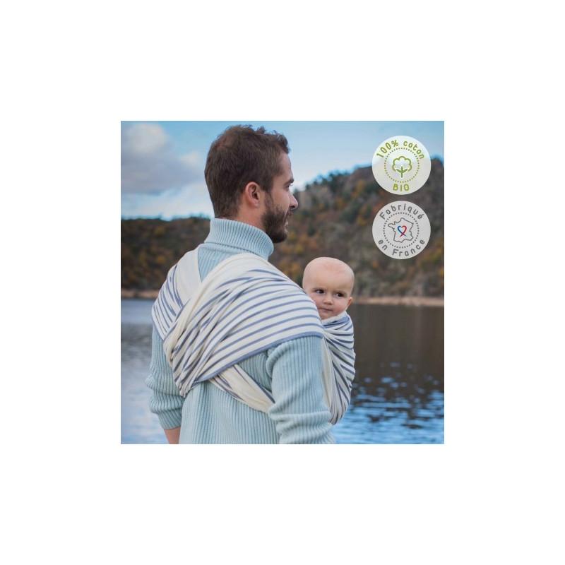 Echarpe de portage rayée bio Malo, porte bébé physiologique de Néobulle, strasbourg