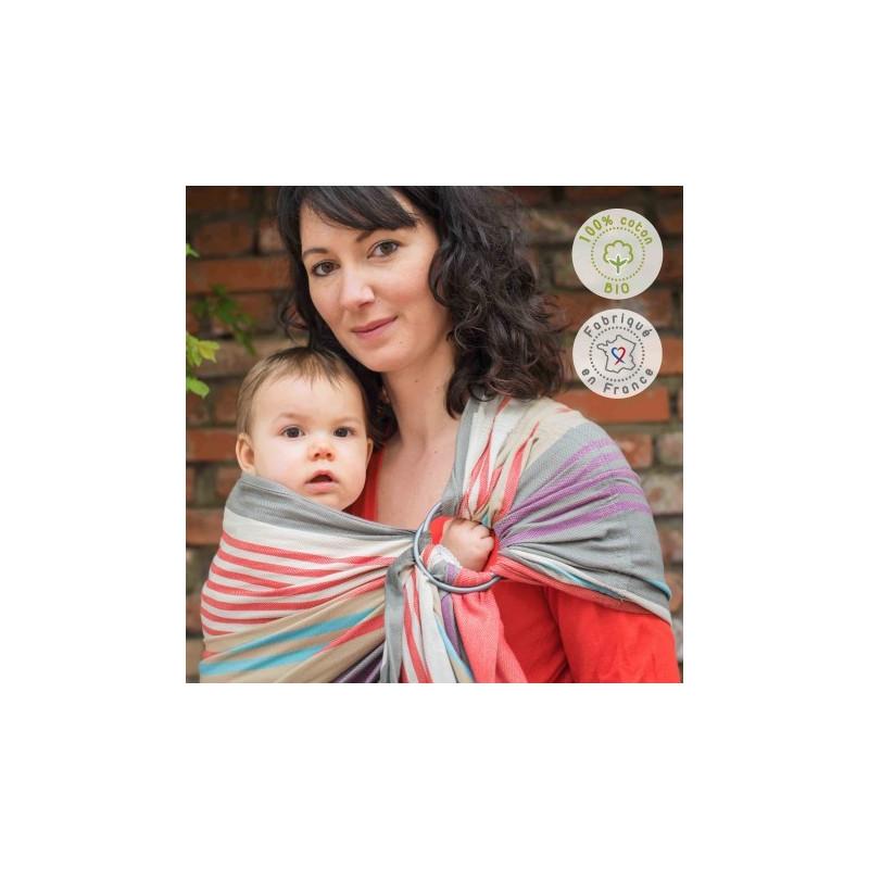 Sling bio Hugo, écharpe de portage sans noeud, porte bébé physiologique en tissu hamac de Neobulle france