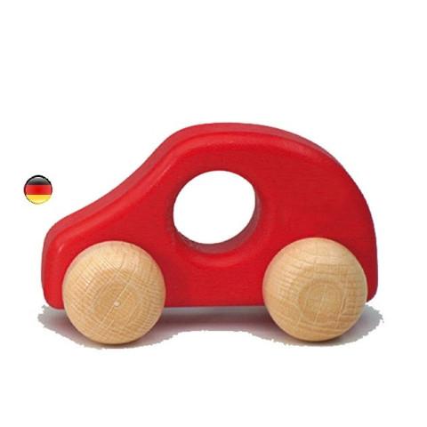 Voiture rouge en bois , jouet ecologique et ethique waldorf steiner, ostheimer