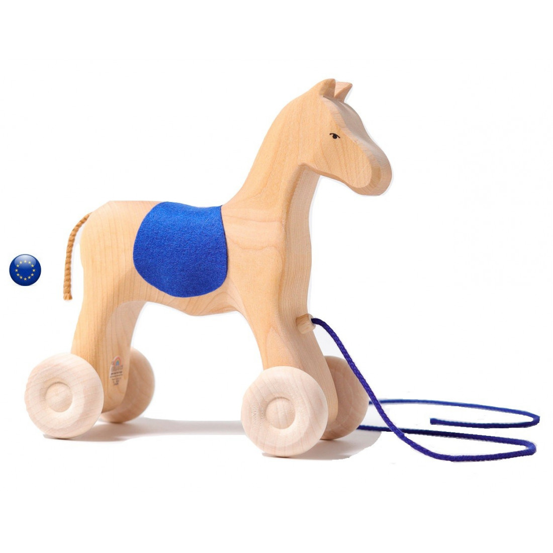 Grand cheval à tirer, jouet d'eveil en bois waldorf steiner Grimm's