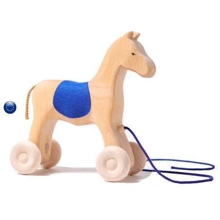 Grand cheval à roues, jouet à tirer
