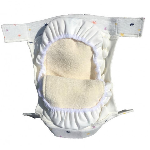 Couche lavable Easy Free tout-en-3 et fonction HNI avec velcro, coton Bio, popolini